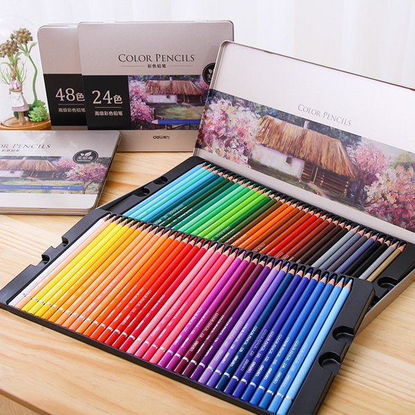 top popular Deli Oily Colored Pencil Set 24 36 48 72 Colors Oil Painting Drawing Art Supplies For Write Drawing Lapis De Cor Art Supplies T200107 2021