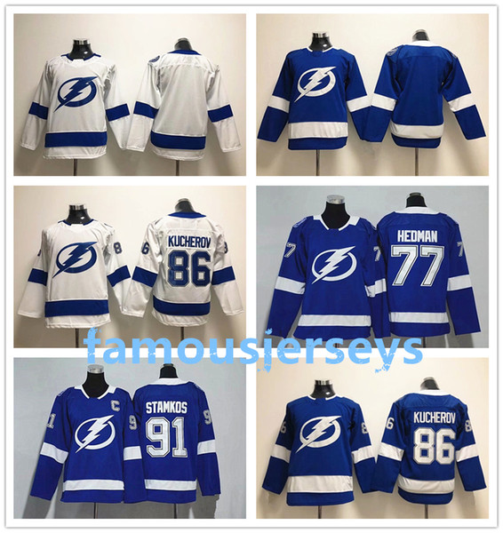 Tampa Bay relâmpago juventude hóquei jerseys crianças inverno ice jerseys para crianças # 91 Steven Stamkos 86 Nikita Kucherov 77 Victor Hedman