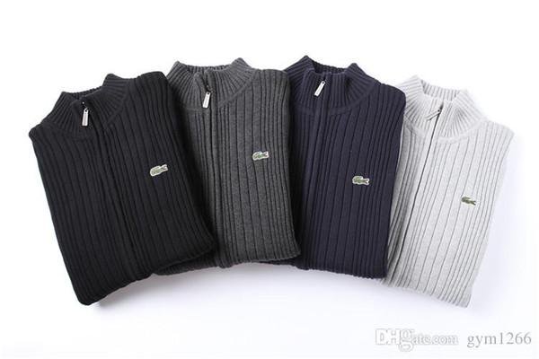 best selling New Cardigan Brand Men's Knitwear Crocodile Logo Zipper Sweater Warm High Quality Hoodie Sweatshirt Autumn Winter Casual Hoodie