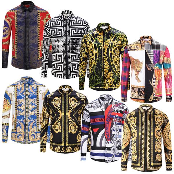 BrandNew Designer de Mode Slim Fit Chemises Hommes 3D Noir Or Imprimé Floral Hommes Robe Chemises À Manches Longues Business Casual Chemises Hommes Vêtements