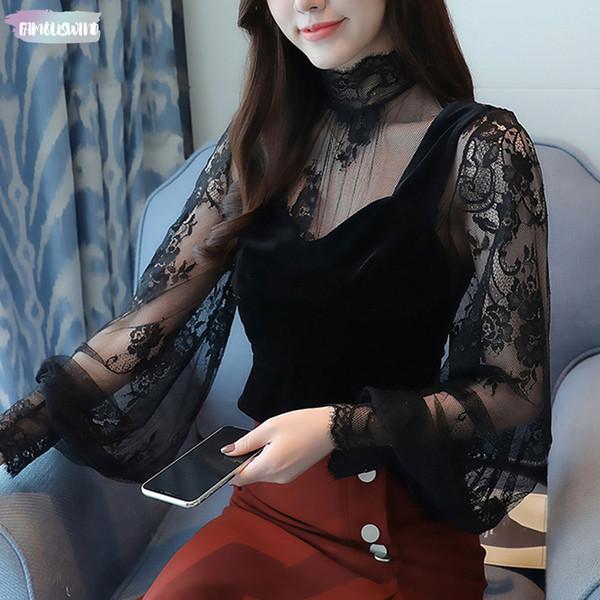 Mujer De Moda 2019 Autumn Winter Top New Perspective Lace Bottom Velvet Vest Women Floral Blouse Shirt Sexy Top 45