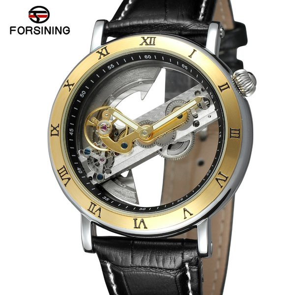 Forsining Mens Brand Business Skeleton Creative Wristwatch Double Side Transparent Leather Watches Waterproof Automatic Watches SLZe13