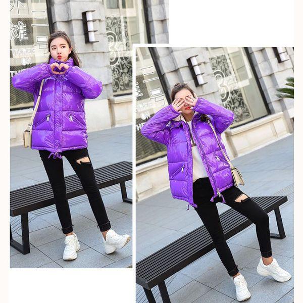 Abrigo de plumón de diseñador para mujer 2019 Moda de marca Ropa de abrigo de superficie brillante Para mujer Moda de lujo Suelta Hip Hop Casual Parkas