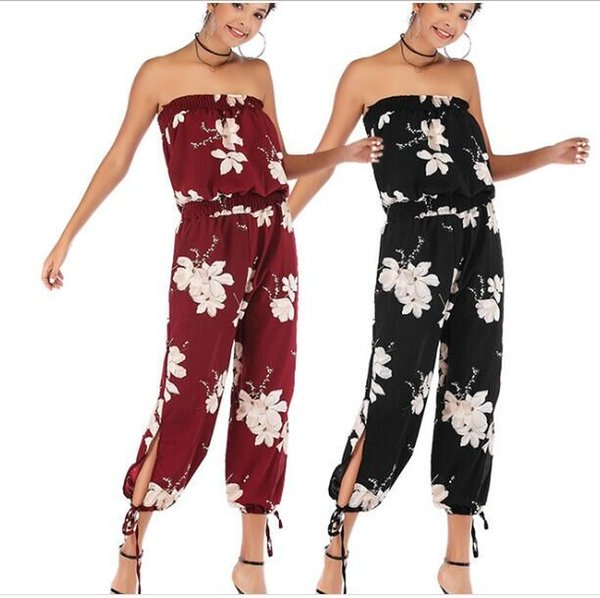 Sexy Party Jumpsuit Women Boho Romper 2019 New Fashion Chiffon Backless Off Shoulder Jumpsuits for Ladies Overalls One Piece