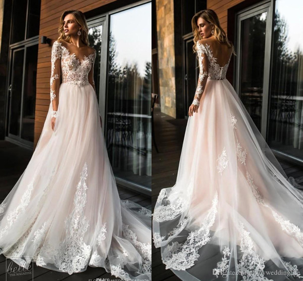 2019 Gorgeous Sheer Long Sleeves Lace Wedding Dresses A Line Tulle Wedding Bridal Gowns Summer Beach Cheap Custom Made plus size