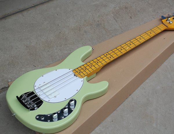 Free Shipping Factory Light Green Electric Bass Guitar with 4 String,Chrome Hardware,Yellow Maple Fretboard,21 Frets,High Quality