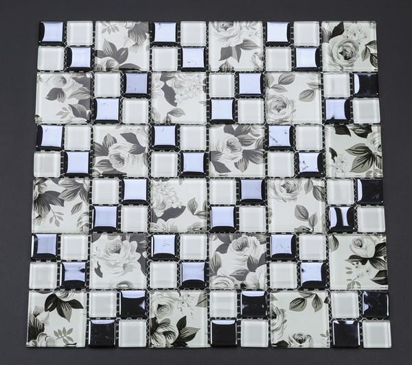 Electroplated black rose glass mosaic kitchen backsplash tile EGMT001 crystal white glass mosaic bathroom wall tiles