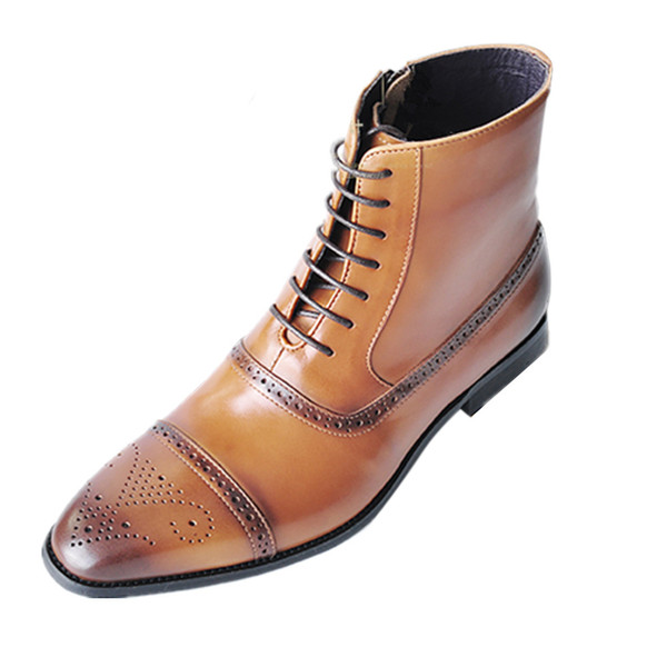Size 39-47 Brogue Carved Leather Ankle Boots Men Autumn British Style Side Zip Wipe The Color Casual Cowboy Boots Mens Ankle Shoes