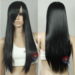Isıya Dayanıklı Cosplay Harajuku Siyah Uzun Peruk-28 inç HighTemp-kadınlar için peruk peruk
