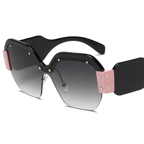O novo estilo de personalidade europeus e americanos grandes óculos de sol quadro da mulher atravessar fronteira estilo ridículo de óculos de sol SMU09S