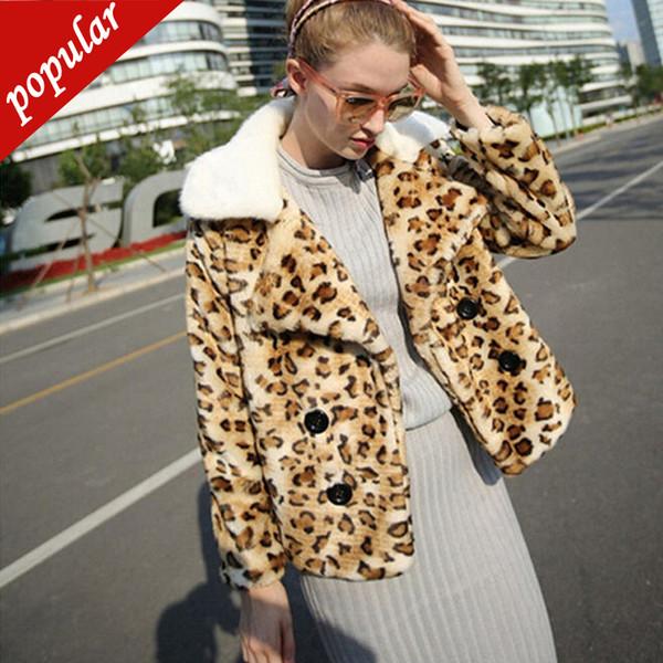Neue Herbst Winter Frauen Leopard Gedruckt Kunstpelz Mäntel Weibliche Umlegekragen Kurzen Kunstpelz Plus Größe 4xl 5xl 6xl