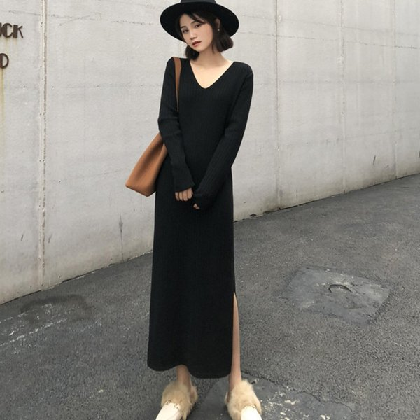 lanmrem 2019 autumn and winter new products fashion joker pit solid color knit long v-neck loose side split dress pb234