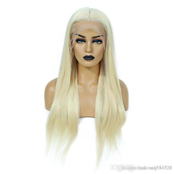 Pleine dentelle perruque 200% Densité Blonde 613 Silky droite Preplucked Hairline 100% brésilien Remy Human Hair