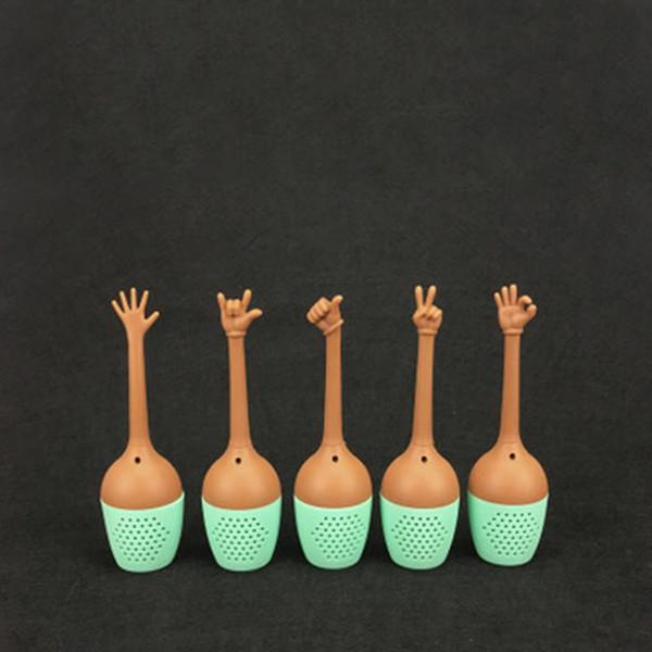 2019 New Gesture Stil Teesieb Kreative Handgesten Teekanne Thumb ok yeah palm love you Stil Silikon Tee-Ei 100 Stück