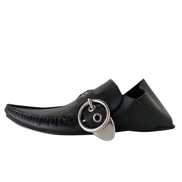 New Black fannulloni del cuoio genuino scarpe morbide Sole lana d'inverno, tenere al caldo della donna dei pattini fibbia della cintura piano casuale Zapatos Mujer