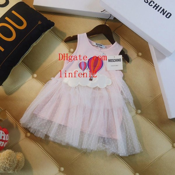 New summer dresses kids brand clothes girls dress baby girl clothes kids dress Pink cartoon pictures skirt girls boutique outfits PF-30