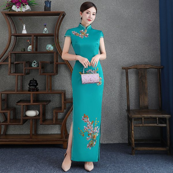 Embroidery Oversize 4XL Elegant Satin Handmade Button Silm Qipao Chinese Traditional Women Dress Vintage Lady Sexy Cheongsam