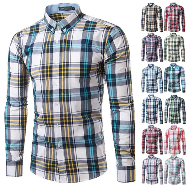 Men Plaid Shirt Long Sleeve Spring Shirt Brand Mens Checkered Cotton Mens Casual Shirts 2017 Men Plus Size slim fit Camisa