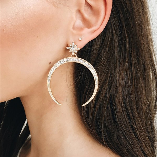 1 Pair/set Women's Fashion Retro Moon Star Gem Earrings Simple Pendant Gold Earrings Lady Party Costume Jewelry Accessories