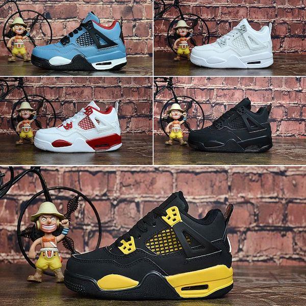 Cheap 4s basketball shoes Pure white money Blue Denim Jeans kids j4 flights jumpman iv sneakers tennis