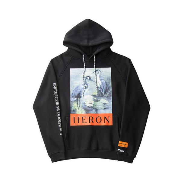 Толстовки с принтом Crane Мужчины Женщины Хип-хоп Heron Preston Толстовки Пуловеры Уличная одежда Black Heron Preston Кофты 2018