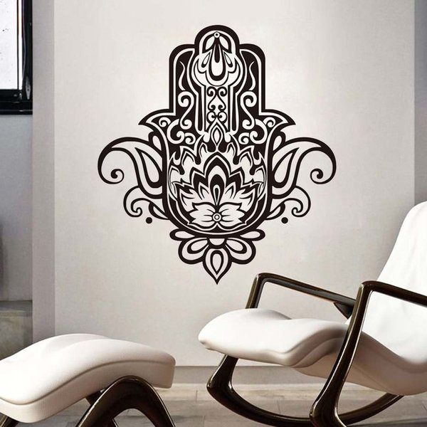 1 Pcs Indian Buddha Wall Stickers Hamsa Hand Removable Vinyl Wall Decal Sticker Home Decor Background Bedroom Wall Murals