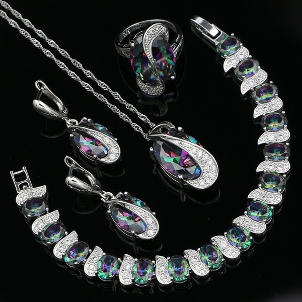Mystic Rainbow Cubic Zirconia White Cz 925 Sterling Silver Jewelry Sets For Women Party Necklace/earrings/pendant/ring/bracelet Y19051302