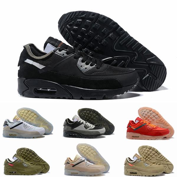OFF White Nike Air Max 90 THE 10 OW 2019 Nuevo Negro Blanco Desert Designer Sneakers Classic 90 para hombre Zapatillas de correr para mujer Deportes Hombres Entrenadores Marca 90s Chaussures Tamaño 12