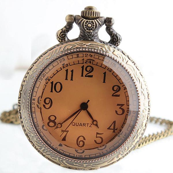 Fashion Bronze Glass Vintage Steampunk Pocket Watch Chain Arabic Number Necklace Women Men Quartz Pocket Watches CF1060