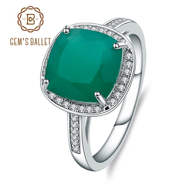 Gem's Ballet Natural Green Agate Rings Genuine 925 Sterling Silver Cocktail Rings Fine Jewelry Woman Wedding Engagement Ring J 190430