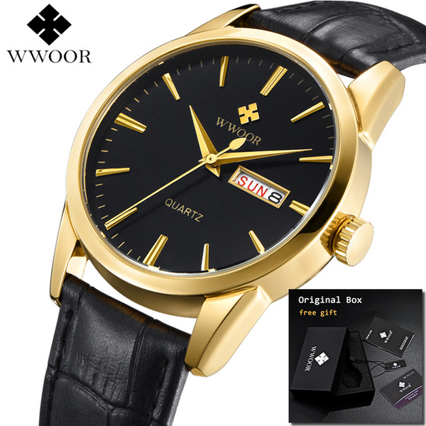 WWOOR 2019 Mens Watches Top Brand Luxury Sport Men's Black Wrist Watches Genuine Leather Strap Watch For Men erkek kol saati