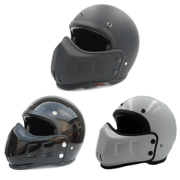 FPR open face Motorcycle Vintage helmet with mask mounth for dirt bike Cafe racer casco custom motocross cycling chopper cruiser
