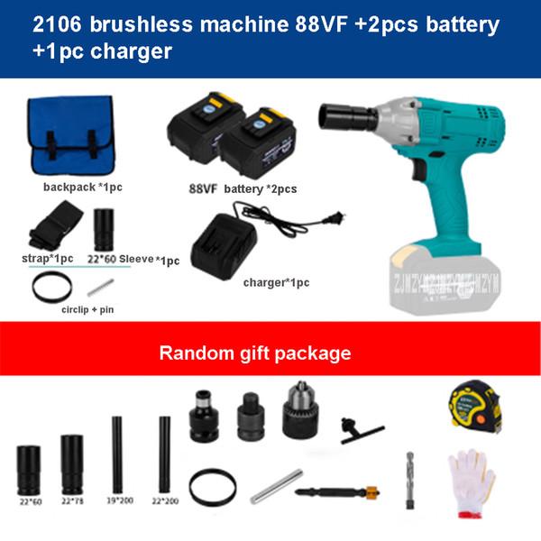 best selling 2106 Brushless Electric Wrench 48V 6000mh 88V 9000mh Lithium Impact Socket Wrench Brushless Electric 220V 330 NM 3300 RPM