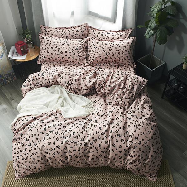 Leopar Yatak Takımları Kızlar Kadın Çocuklar Genç Yetişkin yatak Çarşafları Nevresim Düz Çarşaf Yastık Kral tam Ikiz yatak örtüsü