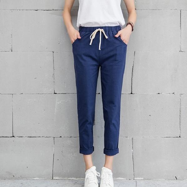 Pamuk Pantolon Boş Keten Uzun Kadınlar Elastik Bel 2XL Gevşek Artı boyutu Cepler Casual Pantolon Boş Pantolon