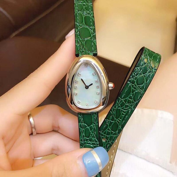 Free Shipping Serpenti 28MM Women Wristwatch Double Spiral Green Leather Band Quartz Womens Watches Ladies Watch Mother Of Pearl Dial