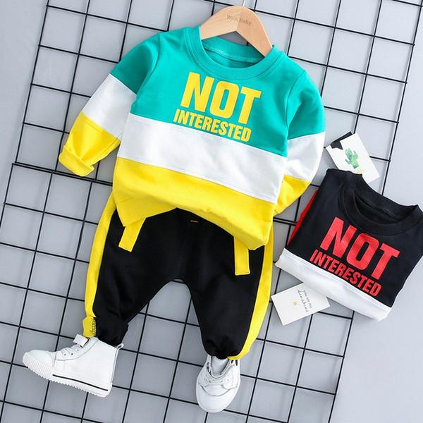 Moda bebê menino outfit set outono manga longa carta de impressão top e calças conjunto de roupas de algodão