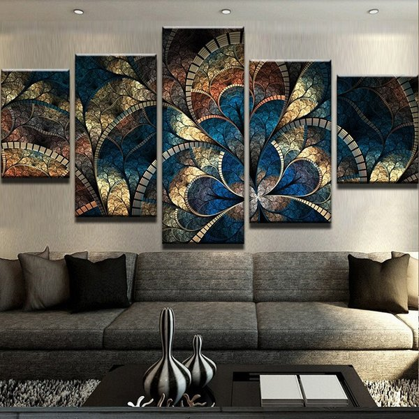 Pittura astratta della tela di canapa di arte della parete Immagini della parete di arte della parete 5 pannello dei fiori di fantasia per il salone della decorazione domestica unframed modulare
