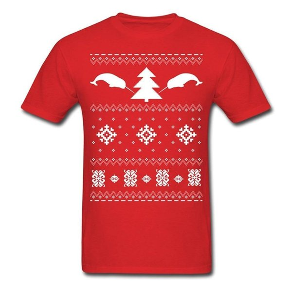 Cool Graphic Tees Crew Neck Short-Sleeve Office Narwhal Ugly Christmas Sweater Tee For Men
