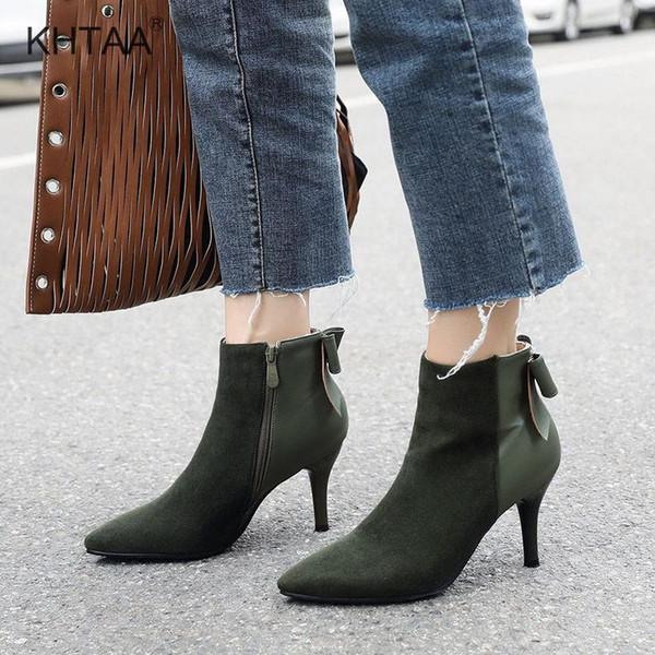 Las mujeres más el tamaño de tobillo del tacón alto Botas Punta delgado y puntiagudo otoño Talones de la cremallera zapatos de las señoras nudo de la mariposa hembra atractiva de calzado 2018