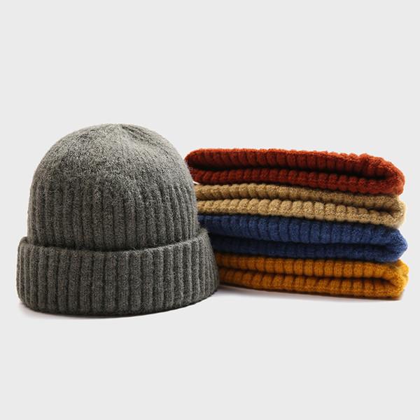 Court Skullcap d'hiver unisexe Hommes Bonnets Bonnet Bonnet Melon Cap marin Cap Cuff brimless Rétro marine style chaleureux Femme Chapeau