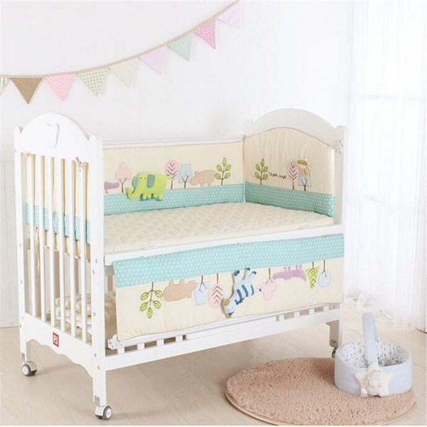 7pcs Baby Bedding Set Newborns Crib Bumpers Mattress Fitted Cover Baby Pillow Quilt Cotton Blanket Elephant Infant Cot Protector