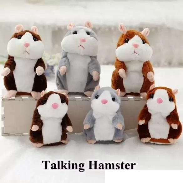 3 Colors 15cm New Talking Hamster Plush Party Toys Speak Sound Record Hamster Plush Toy Kids Christmas Gifts With Opp Package