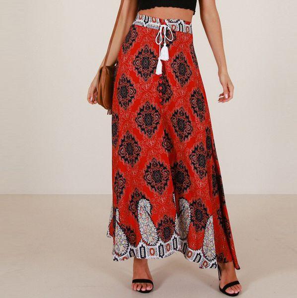 Femmes Boho taille haute jupe été Casual plage Maxi jupe longue imprimé floral dentelle rétractable-longueur G0528 # 20