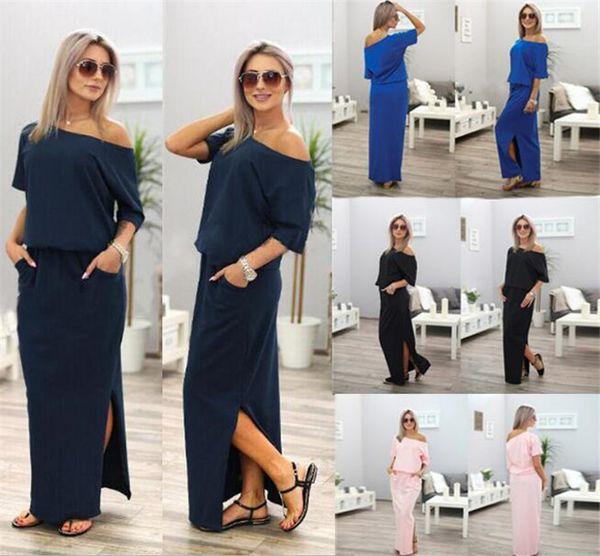 top popular 100pcs Summer Women Boho Maxi Dress Short Sleeve Side Slit Loose Evening Party Long Beach Dress with Pocket Vestidos M503 2020
