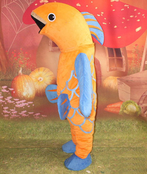 2018 High quality hot fish costume golden fish mascot suit for adult to wear