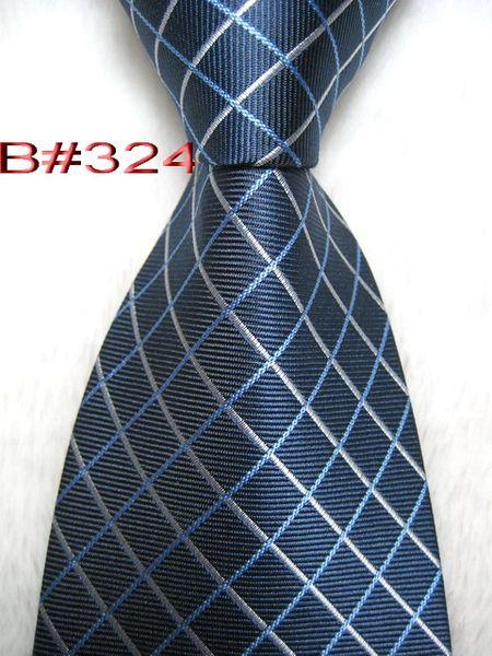 B # 324 # 100% Шелковый модный жаккардовый плетеный мужской галстук ручной работы