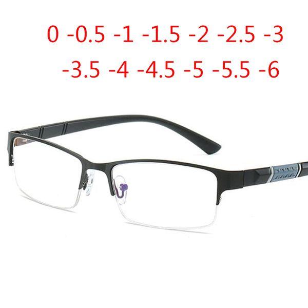 Half Metal Frame Blue film ultra-light Nearsighted Glasses Resin Nearsight Unisex Shortsighted Myopia 0 -0.5 -1 -1.5 -2 -3 To -6