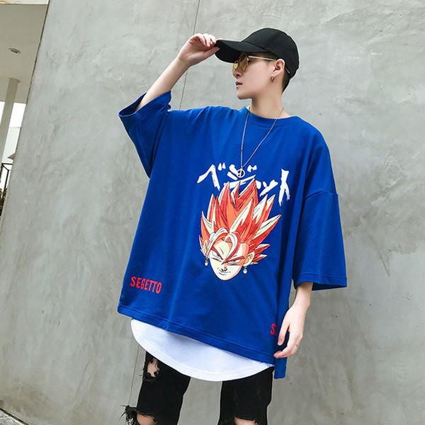 Summer Mens Hip Hop Cotton T Shirt Dragon Ball Print Oversize Swag Tops Tees Shirts Man Clothing US Size M-XL C19010401 C19010401