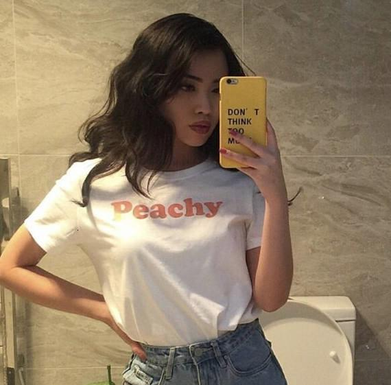 women tshirt womens designer clothing peachy red letters print t shirt fashion cotton clothing tumblr t shirt for  graphic tee